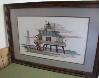Cross Stitch Lighthouse Embroidered Picture Hooper Strait Lighthouse, St. Michaels, Chesapeake Bay