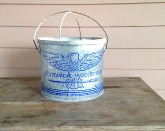 Minnow Bucket  Galvanized Vintage Bait Fishing Pail  Fenwick Woodstream