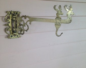 Victorian Solid  Brass Hanging Wall Bracket with Stags Heads - Plant Hanger - Pot Hanger