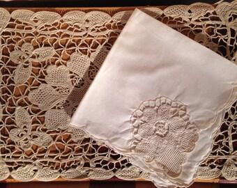 Vintage Ecru Belgian Lace - 10 Placemats 10 Napkins