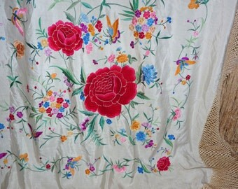 Piano shawl vintage silk museum quality hand embroidered floral and butterfly motifs all over