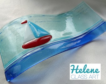 "Nautical ""Sailing on the Waves"" Hand-Made Fused Glass Sculpture (24cm x 12cm)"
