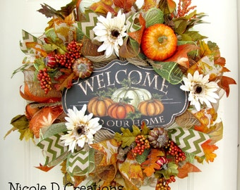 Fall Wreath, Thanksgiving Wreath, Deco Mesh Wreath, Front Door Wreath