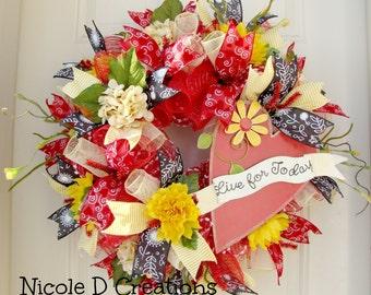 Spring Wreath- Summer Wreath- Front Door Wreaths- Deco Mesh Wreath- Deco Mesh