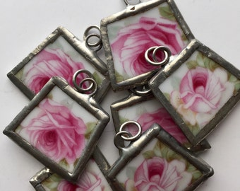 Set of 7, Broken China, Shabby Chic, China Necklace, Pink, Roses, Soldered Charms