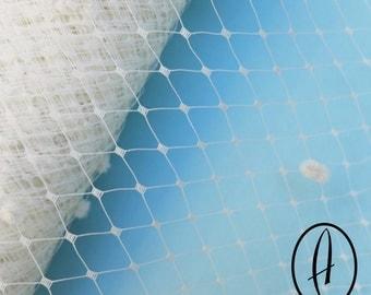Large Window Spot Millinery Net // Birdcage Veiling // Wedding Fascinator // English Merry Widow // 1 meter (1.09 yards) - Ivory
