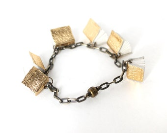 Metallic Gold Mini Book Bracelet with Magnetic Clasp, Chain and Tiny Book Bracelet, Handmade Book Jewelry, Gift for Librarian or Book Lover