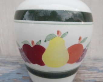 Small Pottery Vase with Hand Painted Fruit Motif!