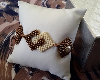 Bronze and Cream Double Square Linked Bracelet.