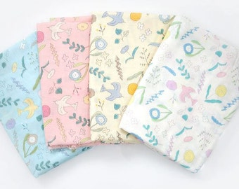 Flower Garden Bamboo & Cotton Gauze Fabric by Yard (C86543) - 4 Colors Selection