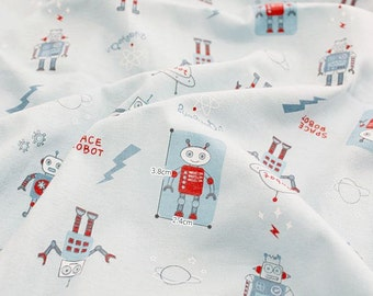 Robots Cotton Knit Fabric, Cotton Knit Stretchy Fabric by Yard