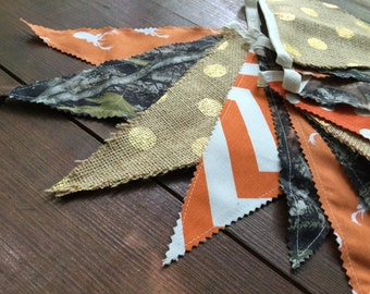 FLASH SALE Hunter Banner Deer Head Bunting Camo Stag Pennant Flags Home Baby Shower Nursery Decor Photo Prop Cabin Mountain Outdoor Last ONE