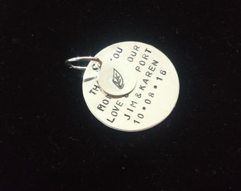 Hand Stamped Sterling Silver Double Disc Charm for Charm Bracelet or Tree Charm