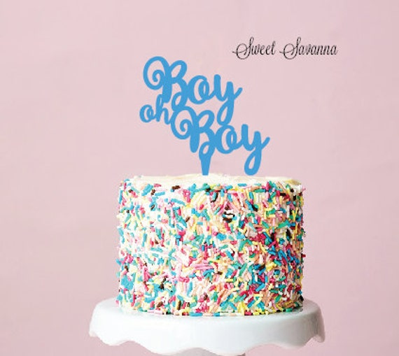 Boy Oh Boy Cake Topper - Baby Shower Cake Topper MADE IN ...