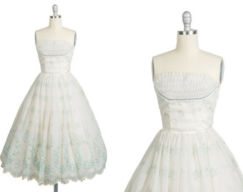 Vintage 1950s dress // 50s white prom dress // rose print organza dress