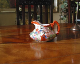 Beautiful Vintage Hand Painted Japanese Creamer With Japanese Village And Geisha Girls