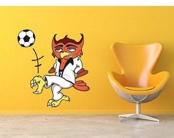 20% SALE - FREE SHIPPING Super Soccer Owl boys wall decal sticker, deco, mural, vinyl wall art