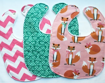 Baby Bib Set - Modern Baby Bib Set - Fancy Foxes Bib Set - Girl Fox Hipster Baby Bib Set -White Minky Fabric Backing - Handmade Baby Gift