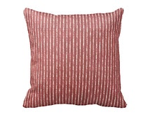 7 Sizes Available: Red Striped Pillow Cover Decorative Pillow Throw Pillow Crimson Pillow Red Pillow Red Home Decor Sofa Pillow