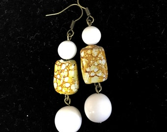 White and yellow marbled drop earrings