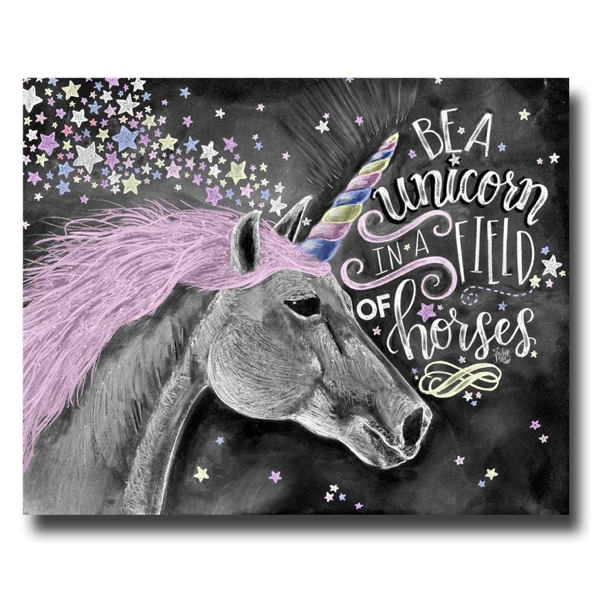 unicorn art unicorn print chalk art chalkboard art be a. Black Bedroom Furniture Sets. Home Design Ideas