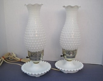 Cottage Chic Pair of Milk Glass Hobnail Hurricane Lamps