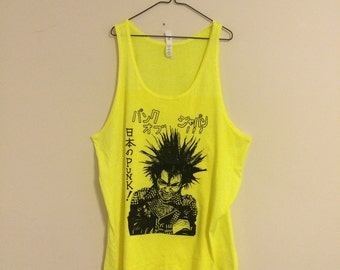 XL Great Punk Hits highlighter yellow tank