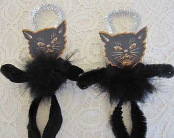 Vintage Black Cat Bump Chenille Halloween Ornaments