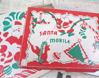 Vintage 1950's Santa Mobile Retro Christmas in Box Deer Tree Santa Angel Candy Cane