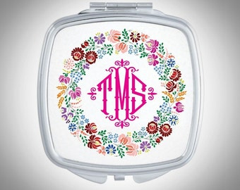 Personalized Monogram Compact Mirror -  Personalized Gift for Bridesmaid - Wedding Favor - Custom Monogram Gift, Personalized Gift for Her