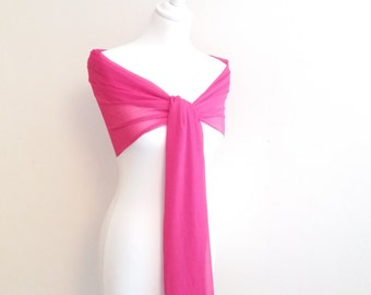 Shawl chiffon crepon pink fuchsia wedding bridal evening baptism ceremony 50/200 cm, noel stole, stole feast...