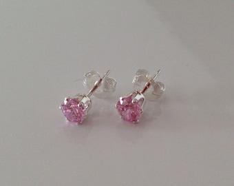 Silver nail 925 zirconium earrings