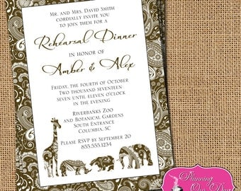 Wedding Shower Rehearsal Dinner Zoo Safari Animal Invitations PRINTED with envelopes