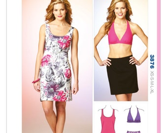 OUT of PRINT Kwik Sew Pattern K3876 Misses' Dress, Skirt and Halter Top