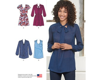 Simplicity Pattern  8216 Misses' Mini-Dress or Tunic with Neckline and Sleeve Variations