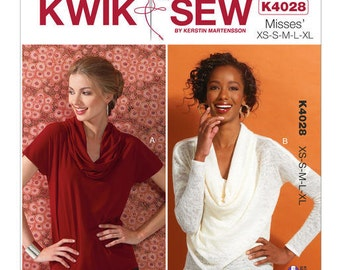 Kwik Sew Pattern K4028 Misses' Cowl-Neck Tops