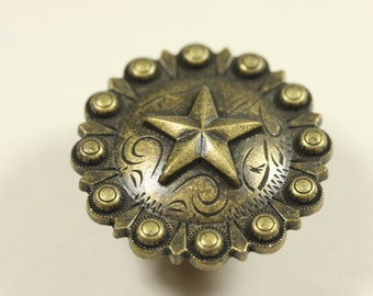 Fancy Western Style Cabinet Knob - Antique Brass