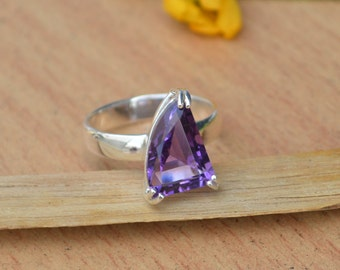 Amethyst Ring, Purple Gemstone Ring, Natural Amethyst Ring Size 7, Gemstone Ring, 925 Sterling Silver Ring, February Birthstone Ring