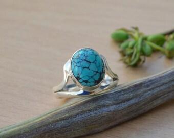 Tibetan Turquoise Ring, Turquoise Gemstone Ring, 925 Sterling Silver Ring, Bezel Set Ring Size 8, Turquoise Gemstone Ring