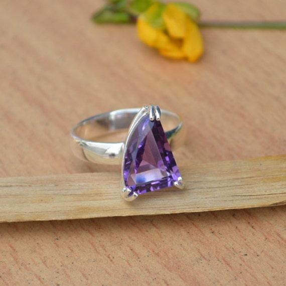 Amethyst Ring, Purple Gemstone Ring, Natural Amethyst Ring Size 7, Gemstone Ring, 925 Sterling Silver Ring, February Birthstone Ring