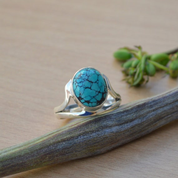 Tibetan Turquoise Ring, Turquoise Gemstone Ring, 925 Sterling Silver Ring, Bezel Set Ring Size 8, Turquoise Gemstone Ring