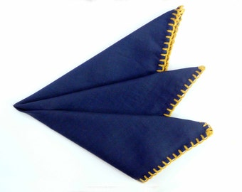 Hand rolled pocket squares with crochet edges