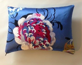 Designers Guild Fabric Cushion Cover in Mararhi Ocean with a Bright Blue Linen Backing