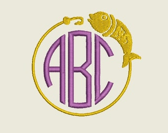 """Fishing Monogram Border embroidery file to fit 4""""x4"""" frame (Font NOT included) - INSTANT DOWNLOAD - Item # 2023"""