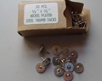 2 boxes Nickel Plated Steel Thumb Tacks 1/2 x 1/2 inch 30 piece each box