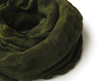 dark green melange linen scarf for men and women
