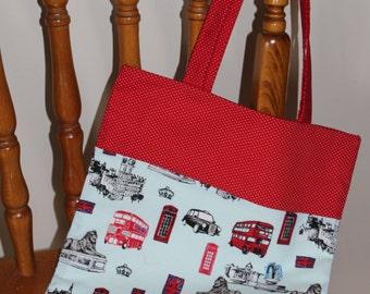 Handmade London print fabric tote bag