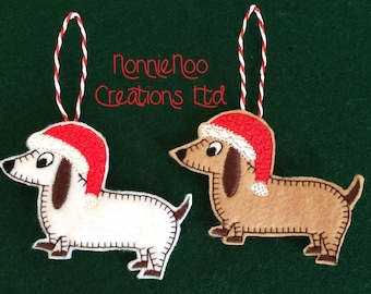 NNC ITH Christmas Dachshund for the 4x4 hoop - pes, jef, exp, hus, vip, vp3, dst, xxx