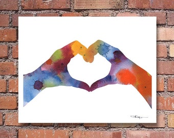 Love Hands Art Print - Abstract Watercolor Painting - Wall Decor