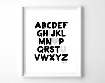 Alphabet Nursery Art, Nursery Wall Art, Nursery Prints, Nursery Decor, Girl Wall Art, Boy Wall Art, Instant Download, Baby Gift, Modern Art